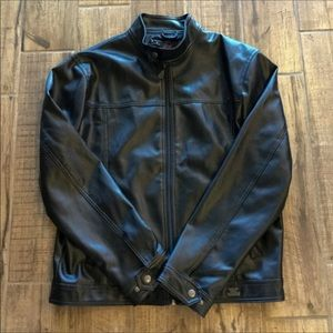 R Rosso Made in Italy Black Leather Jacket…